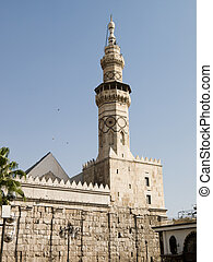 Tower -The Umayyad Mosque - The Umayyad Mosque tower in...