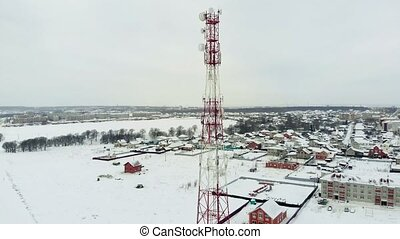 Tower with antennas and cymbals cellular, wireless. Copter...
