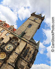 tower with Astronomical Clock in Old Town Square in Prague ...
