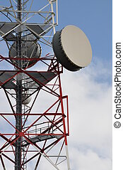Tower with cell phone antenna - Telecommunication tower with...
