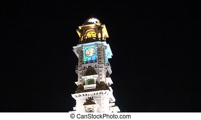 Tower with clock in Jodhpur bazaar in night, Rajasthan,India