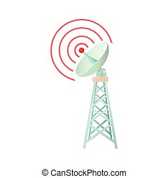 Tower with communication dish icon, cartoon style