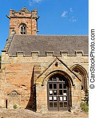 Tower with gargoyles in Lea Marston, UK.
