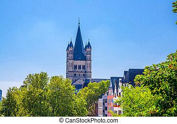 Tower with spire of Great Saint Martin Roman Catholic Church