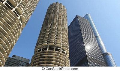 Towering Skyscrapers Tracking Shot
