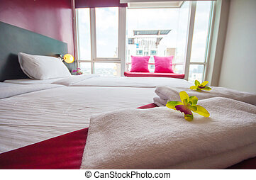 Towers and Beautiful bedroom interior