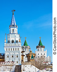 towers and domes of the Izmailovo Kremlin in Moscow