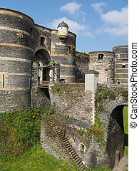 Towers and drawbridge of the Angevine castle, Angers, France