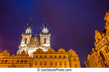 Towers at the old town square in Prague
