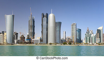 Towers in Doha, Qatar - Wide-angle view of the towers in the...