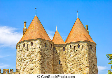 Towers in the medieval Carcassonne