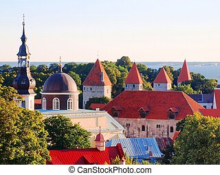 Towers of a fortification of Old Tallinn - Towers of a...