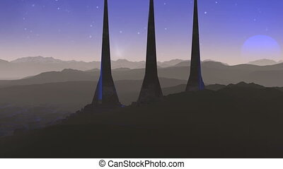 Towers of aliens and blue star (UFO