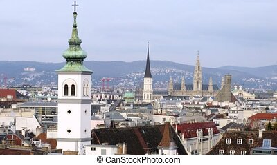 Towers of ancient churches dominate on old city, time lapse