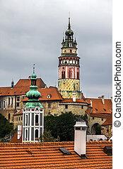 Towers of Cesky Krumlov, Czech Republic.