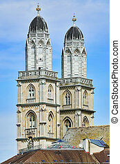 Grossmunster Protestant Church - Towers of Grossmunster...