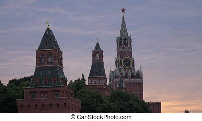 Towers of Moscow Kremlin. The Spasskaya Tower. The main tower on the eastern wall of the Moscow Kremlin with striking clock
