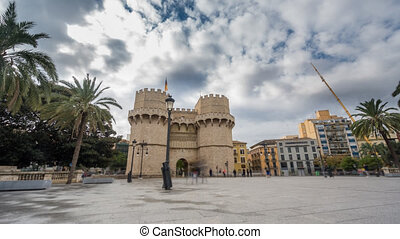 Towers of Serranos Time Lapse in Valencia . Spain.