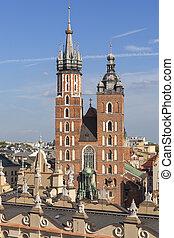 Towers of St. Mary's Basilica on Main Market Square, Krakow, Poland