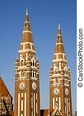 Towers of Szeged Dom cathedral - Two towers of the famous...