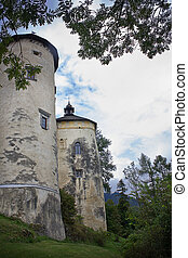 towers of the ancient castle Dunajec in Nedzice