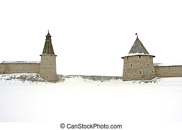 Towers of the ancient Russian fortress.