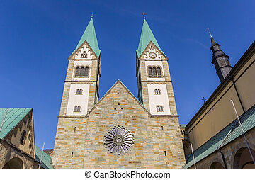 Towers of the historic Basilika in Werl, Germany