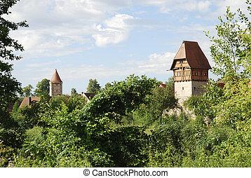 Dinkelsb?hl - Towers of the historic Dinkelsb?hl (Franconia,...