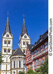 Towers of the St. Severus church in Boppard, Germany