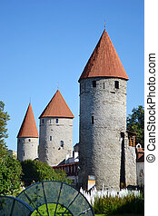 Towers of town wall in Tallinn - Towers of town wall of...