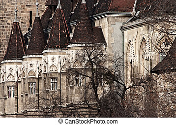 Towers of Vajdahunyad Castle in Budapest, Hungary