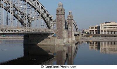 Towers Old Bridge reflected in wate