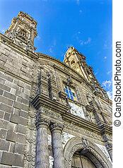 Towers San Cristobal Church Templo de San Cristobal Historic Puebla Mexico.  Built in 1600 to 1700s