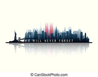 towers., silhouette, horizon, jumeau, york, nouveau