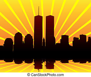 Towers twins - silhouettes of the Twin Towers on the...