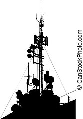 Towers, wired to wireless comm. This image is a vector illustration and can be scaled to any size without loss of resolution
