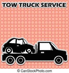 towing, 形, ベクトル, トラック, icon.