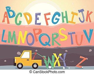 Towing Truck Alphabet Illustration