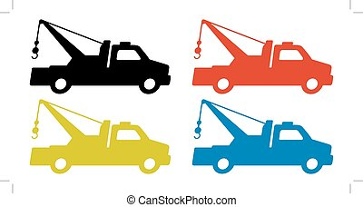towing truck silhouette set isolated on white background