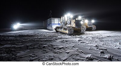 Towing  van-building in tundra, Russian Federation