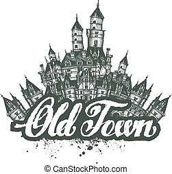 town., 古い, スケッチ, イラスト, ベクトル, アートワーク