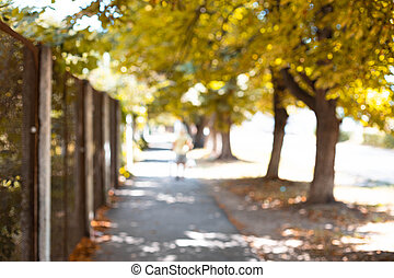 Town alley with green trees background in the fall. Blurred background