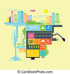 Town and City Vector Illustration with infograph elements