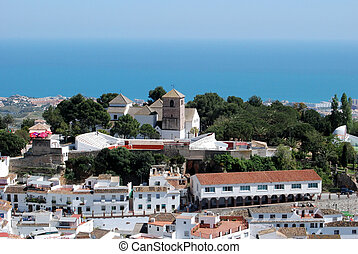 Town and sea, Mijas, Andalusia. - View of the towns church...