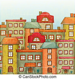 Town Background - Square Urban background. Townhouses in a...