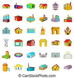 Town, building icons set, cartoon style - town building...