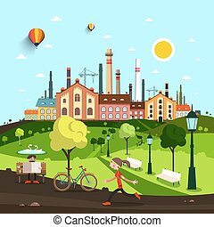Town, City with Old Factory and Houses. People in Park on Background. Vector Abstract Landscape.
