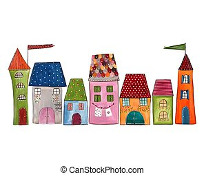 Town - Handmade illustration. Acrylic colours on paper