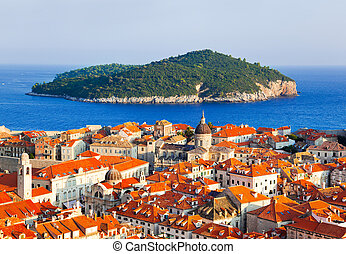 Town Dubrovnik and island in Croatia - abstact travel...