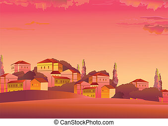 Town. - Evening landscape with the town. Vector art-...